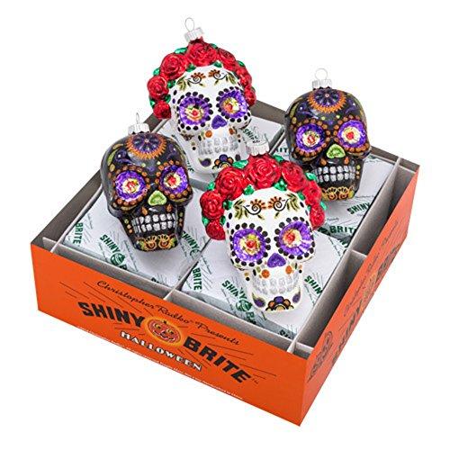 Christopher Radko Shiny Brite Halloween (Christopher Radko Shiny Brite Halloween4 Pc Skull Ornament Set)