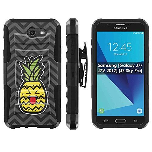 TalkingCase Phone Case for SamsungGalaxy (J7 2017) (J727),Perx,Sky Pro,J7V (2017),Halo-Cricket,Prime,Black Premium Dual Layer Armor Case,Pineapple Head Beh Tongue Print, Design in USA ()