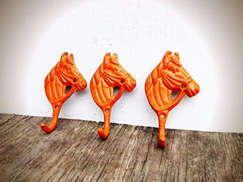 Modern Farmhouse Style Horse Wall Hooks Home D/écor in Bright Orange Rustic Entryway Storage for Coats and Keys