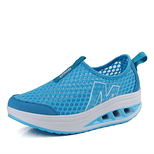CYBLING Women Breathable Lightweight Platform Wedge Fashion Trainers Sports Athletic Casual Shoes Blue t1jMv