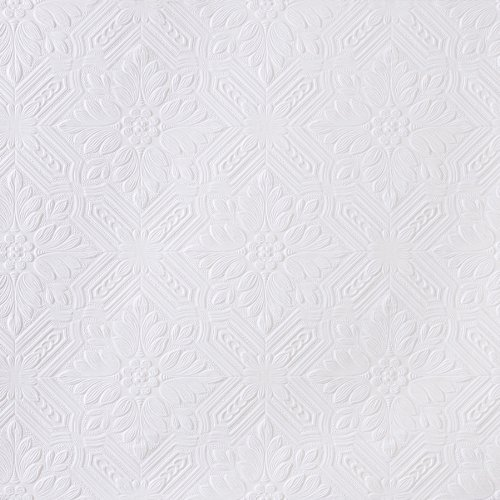 Brewster RD0648 Anaglypta Paintable Angled Floral Square Wallpaper, 21-Inch by 396-Inch, -