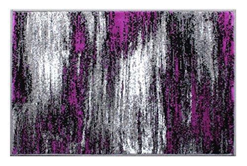 Masada Rugs, Modern Contemporary Mat Area Rug, Purple Grey Black (2 Feet X 3 Feet) Mat
