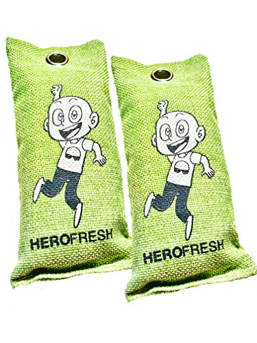 Breathe Green Charcoal Bags, Air Freshener, 2 Pack 75g, Natural Odor Eliminator, Bamboo Charcoal Air Purifying Bags, Scent Absorber, Odor Eliminators for Shoes, Car Air Freshener ()