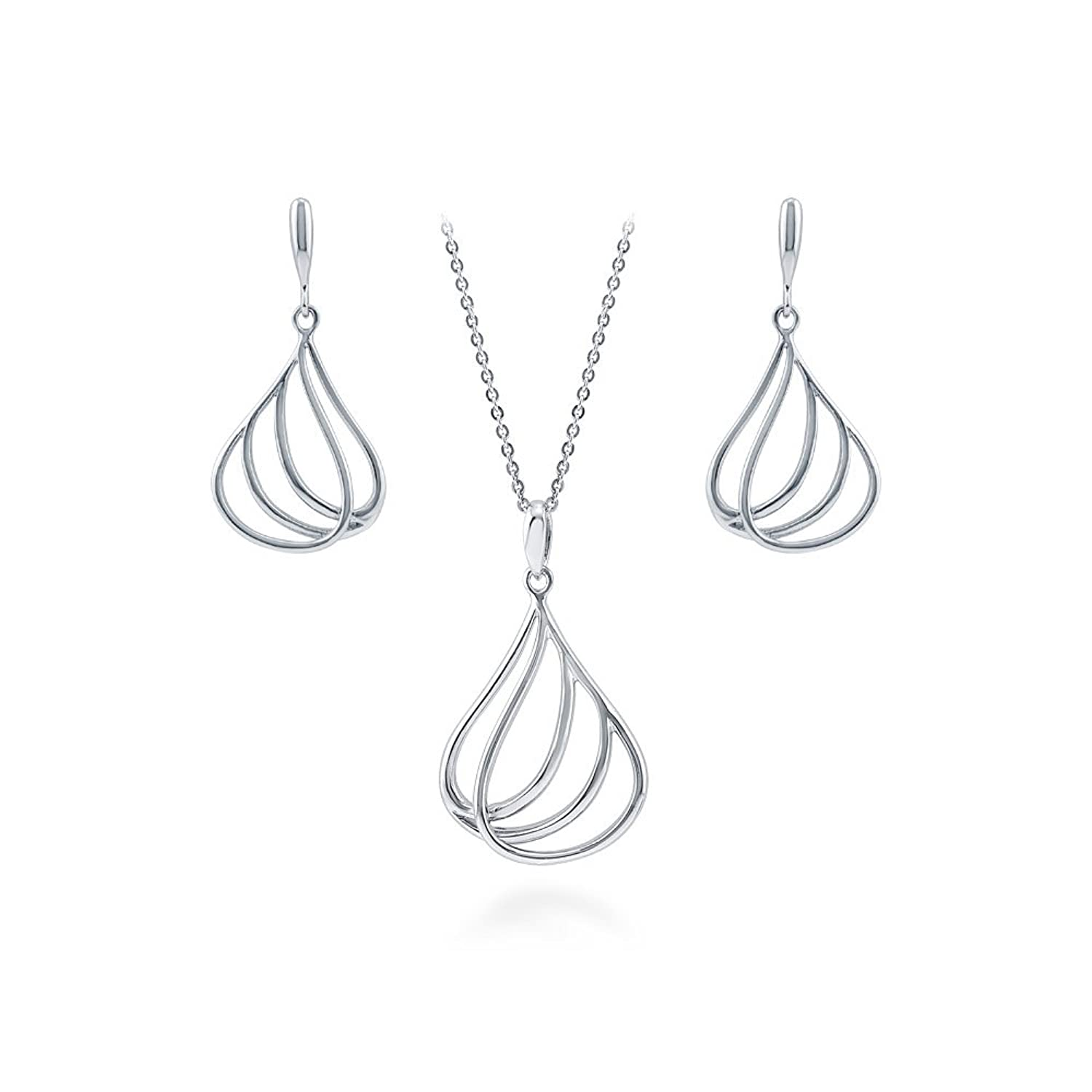 BERRICLE Rhodium Plated Sterling Silver Teardrop Woven Fashion Necklace and Earrings Set