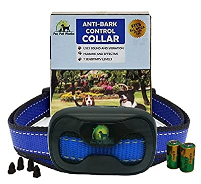 Pro Pet Works No Bark Vibration Collar No Shock Barking control Collar For Small Medium And Large Dogs Humane And Safe Bark Deterrent 15-150lbs by Pro Pet Works