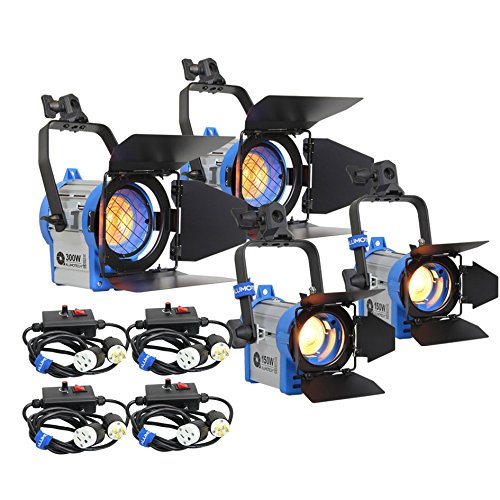 Alumotech 150WattX2+300WattX2+Dimmers 900Watt Fresnel Tungsten Spotlight Halogen Lamp Studio Video Light Kit For Camera Lighting Compatible Bulb (Spotlight Fresnel)