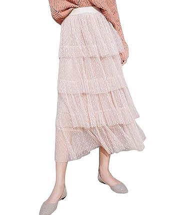 PengGengA Mujer Falda Larga De Tul Plisada Tutu Malla Faldas De ...