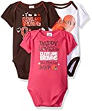 "NFL Cleveland Browns Girls ""Daddy Loves"" Bodysuit (3 Pack), 12 Months, Gray offers"