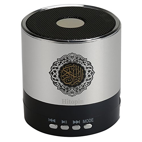 Hitopin Digital Quran Speaker 8GB FM Radio with Remote Control Silver Color over 30Reciters and Translations Available Quality Qur'an Speaker Arabic English French, Urdu etc Mp3 HP-SQ168S