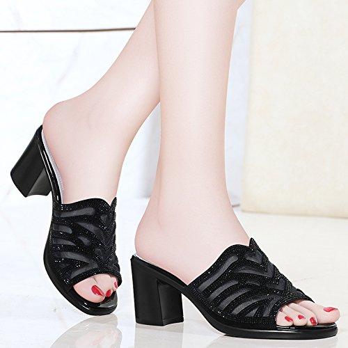 soirée Escarpins sandales femme femme Black hauts Talons hauts chaussures à talons Chaussons HUAIHAIZ gdxFqPWw4q