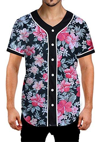 La La Print Jersey - Uideazone Men Casual Short Sleeve Baseball Shirt Button Down Hawaiian Jersey Shirts