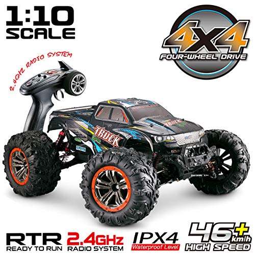 Hosim Large Size 1:10 Scale High Speed 46km/h 4WD 2.4Ghz Remote Control Truck 9125,Radio Controlled Off-Road RC Car Electronic Monster Truck R/C RTR Hobby Grade Cross-Country Car (Black) (C Grasshopper R)