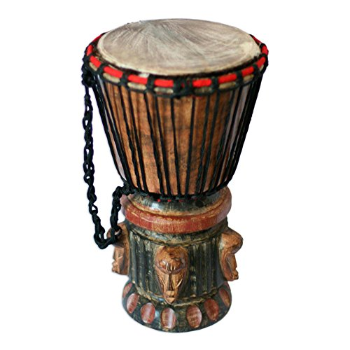 (NOVICA 156993 Think Together' Wood Djembe Drum)