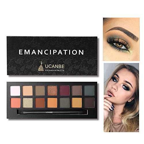 Discount 14 Colors Classic Matte Shimmer Emancipation Warm Color Textured Eyeshadow Palette (2) free shipping