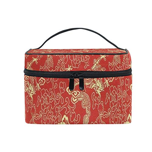 Makeup Bag Red Chinese Gold Dragon Cosmetic Bag Portable Large Toiletry Bag for Women/Girls Travel -