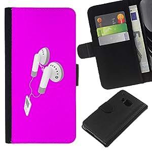 KLONGSHOP // Tirón de la caja Cartera de cuero con ranuras para tarjetas - Rosa Auriculares - HTC One M7 //