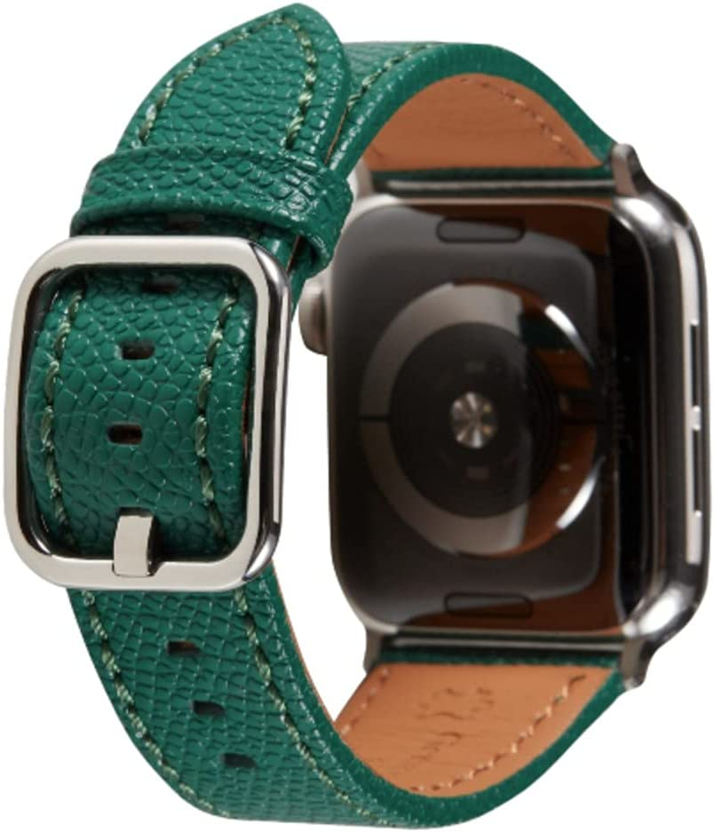 SONAMU New York Epsom Leather Band Compatible with Apple Watch 38mm 40mm 42mm 44mm, Premium Leather Strap Square Buckle Compatible with iWatch Series 6 5 4 3 2 1 (Forest Green, 38mm/40mm)