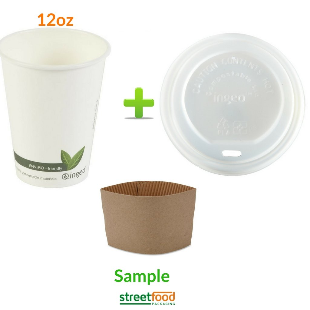 12oz Biodegradable Coffee Cups + Compostable Sip Thru Lids + Coffee Sleeves| Ingeo Coffee Cups Takeaway 12oz (340ml) with Organic Sip Thru Lids and Coffee Sleeves | 100% Eco Friendly Paper Cups for Hot Drinks with Sip Thru Lids & Coffee Sleeves | Coff