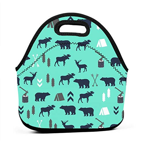 Female Moose - Lunch Box Totebag Moisture Resistant Neoprene Lunch Container Reusable Gourmet Lunchbox Container Mint Grey Navy Blue Bear Moose Forest Arrow Snacks Organizer for Women/Men Kids, Office School