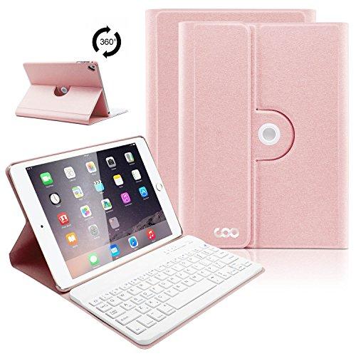 iPad 9.7 Keyboard Case, COO 360 Rotatable Slim Cover for New 2018 iPad 6th Gen/iPad 2017/iPad Pro 9.7/iPad Air 2/Apple iPad Air, Wireless Bluetooth Keyboard, Smart Auto Sleep-Wake (Champagne) by TOPLIFE