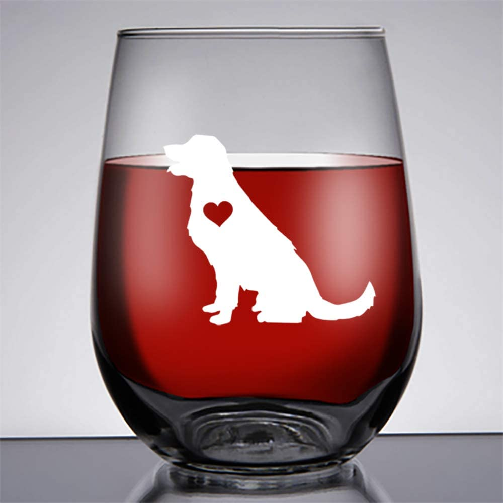 Golden Retriever gifts Large 17oz golden retriever wine glass stemless/Best Golden Retriever gift