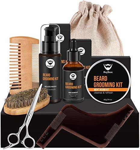 MayBeau Beard Grooming Kit for Men 8 in 1 Beard Care Kit with Beard Balm Beard Oil Beard Shampoo/Wash Beard Shaping Tool Beard Brush Beard Comb Beard Scissors Travel Bag Gift Set
