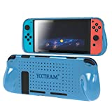 Grip Case for Nintendo Switch, Heat Dissipation Durable Silicone Protective Case Cover for Nintendo Switch Console 2017 with Comfortable Padded Hand Grips (Blue)