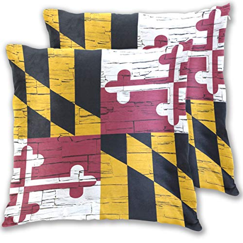 (Distressed Maryland State Flag Cotton Throw Pillow Cover Set of 2,16 X 16 Inch Pillow case)