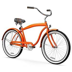 sixthreezero Men's In The Barrel 1-Speed 26-Inch Beach Cruiser Bicycle, Glossy Orange w/ Fenders