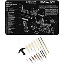 Ultimate Arms Gear WALTHER PPQ Gunsmith & Armorer's Work Tool Bench Pistol Handgun Gun Mat + 17pc Cleaning Kit Brushes, Swab, Slotted Tips and Patches