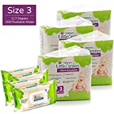 Happy Little Camper Ultra Absorbent Hypoallergenic Natural Diapers, Size 3, 217 Count, Safe Flushable Wipes, 200 Count, Monthly Supply Combo Bulk Pack