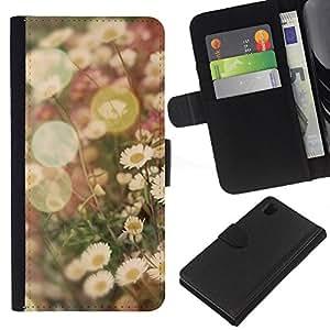 KingStore / Leather Etui en cuir / Sony Xperia Z1 L39 / Vignette champs de fleur de marguerite