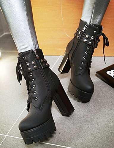 Aisun Womens Studded Inside Zip Lace Up Round Toe Platform Short Boots Chunky High Heel Ankle Booties With Studs Black CkmXA