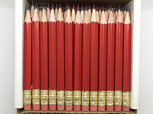 Half Pencils with Eraser - Golf, Classroom, Events, School, Pew, Short, Mini, Small, Non Toxic - Hexagon, Sharpened, 2 Pencil (Color - Red, Box of 48) Golf Pocket Pencils