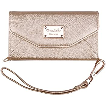iPhone 6/6s Wallet Case, True Color Premium Leatherette Wristlet Clutch Folio Tri-Fold Wallet Purse Case Cover - Gold