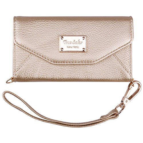 True Color Wallet Case Compatible with iPhone 6sWallet Case, Premium Leatherette Wristlet Clutch Folio Tri-Fold Wallet Purse Case Cover - Gold