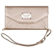 iPhone 6 Wallet Case, True Color© Premium Leatherette Wristlet Clutch Folio Tri-Fold Wallet Purse Case Cover - Gold