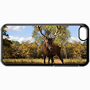 Fashion Unique Design Protective Cellphone Back Cover Case For iPhone 5C Case European Red Deer Stag Black