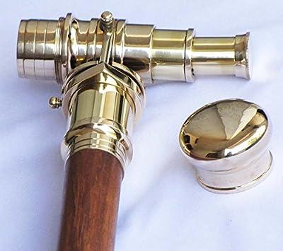 Crafts International Wooden Folding Nautical Walking Cane Stick Hidden Brass Telescope