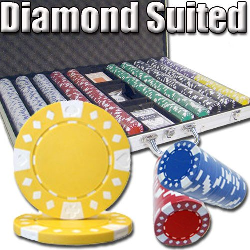 Brybelly 1,000 Ct Diamond Suited Poker Set - 12.5g Clay Composite Chips with Aluminum Case, Playing Cards, Dealer Button