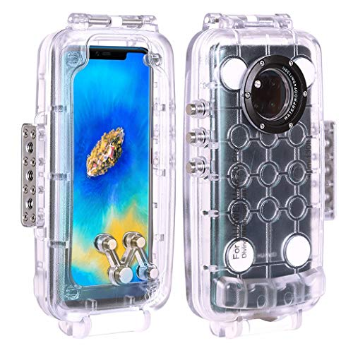 Zhaowei Underwater Housing 40m Diving Explosion Proof Phone Case with Lanyard for Mate 20 PRO (Clear)