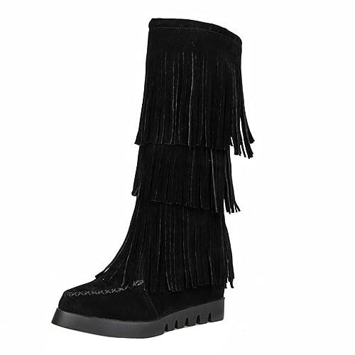 ac59d3ae8d YE Damen Nubuckleder Mittelalter Stiefeletten mit Fransen Keilabsatz 6cm  Absatz Herbst Winter Mid Calf Boots Schuhe (EU39, Schwarz): Amazon.de:  Schuhe & ...