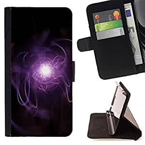 DEVIL CASE - FOR Sony Xperia m55w Z3 Compact Mini - Purple Lightning - Style PU Leather Case Wallet Flip Stand Flap Closure Cover
