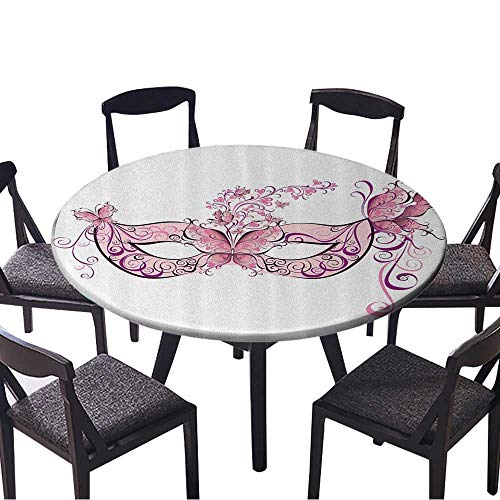 Youdeem-tablecloth Circular Table Cover Butterfly Masks for Masquerade Italian ntasy Floral Stain Resistant 43.5