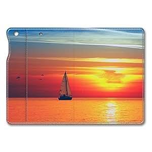 Brain114 iPad Mini Case - Fashion Design Leather iPad Mini Stand Case Cover Boat With Sun Leather Folding Case Cover for iPad Air Mini