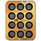 Baker's Secret 1114367 Essentials 12-Cup Muffin Pan, Mini, Black
