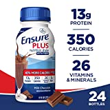 Ensure Plus Nutrition Shake with Fiber,  with 13 grams of high-quality protein, Meal Replacement Shake, Milk Chocolate, 8 Fl Oz, Pack of 24