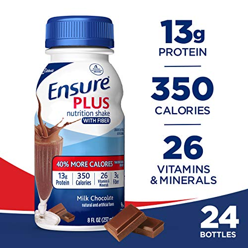 Ensure Plus Nutrition Shake With Fiber, Chocolate, 24 Count