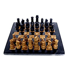 RADICALn Completely Handmade Original Marble Chess Board Game set Two Players Full Chess Game Table Set - Available in Different Colors (Black n Golden)