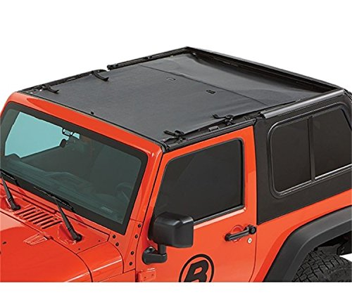 Bestop 52402-35 Black Diamond Fabric Safari-Style Sun Bikini Top for 2007-2018 2-Door Wrangler